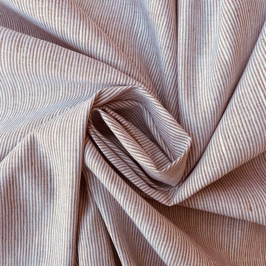 Льняная ткань Бежевая Полоска
