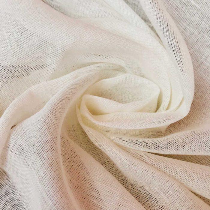 Льняная ткань для тюля Молочная