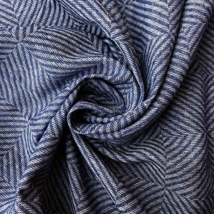 Льняные портьерные ткани - 100% Льняная декоративная ткань Синий Рубчик 1