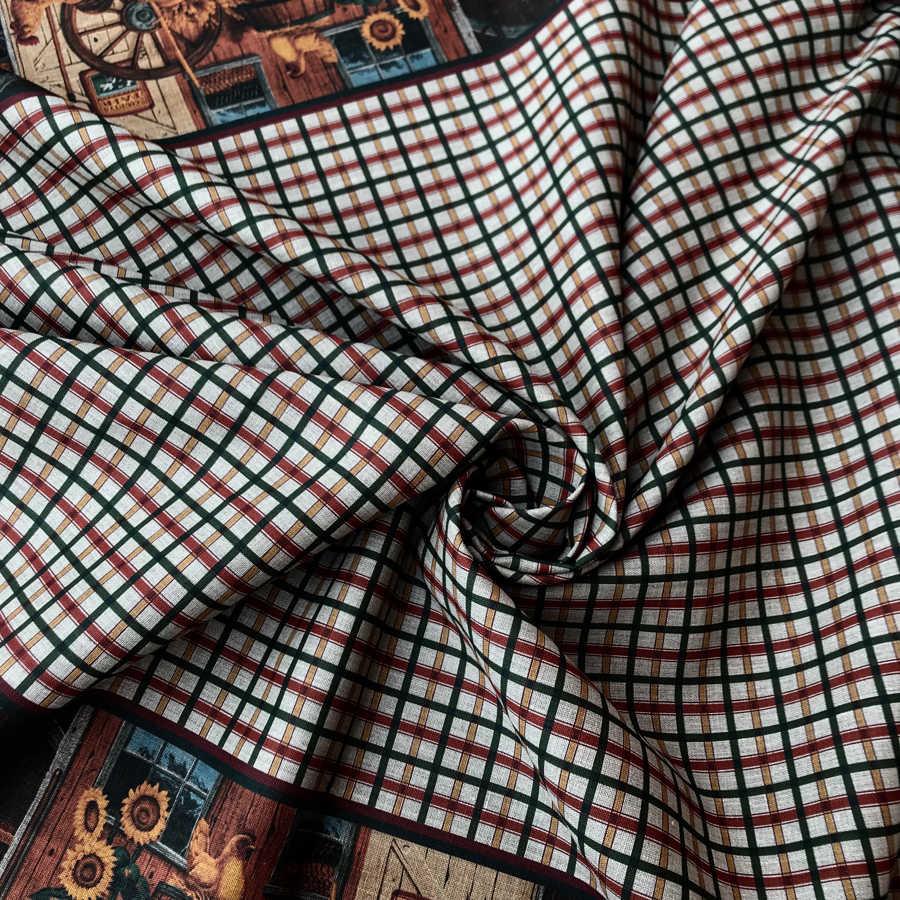 100% Льняная скатертная ткань Французский дворик Ткани в клеткуузский дворик