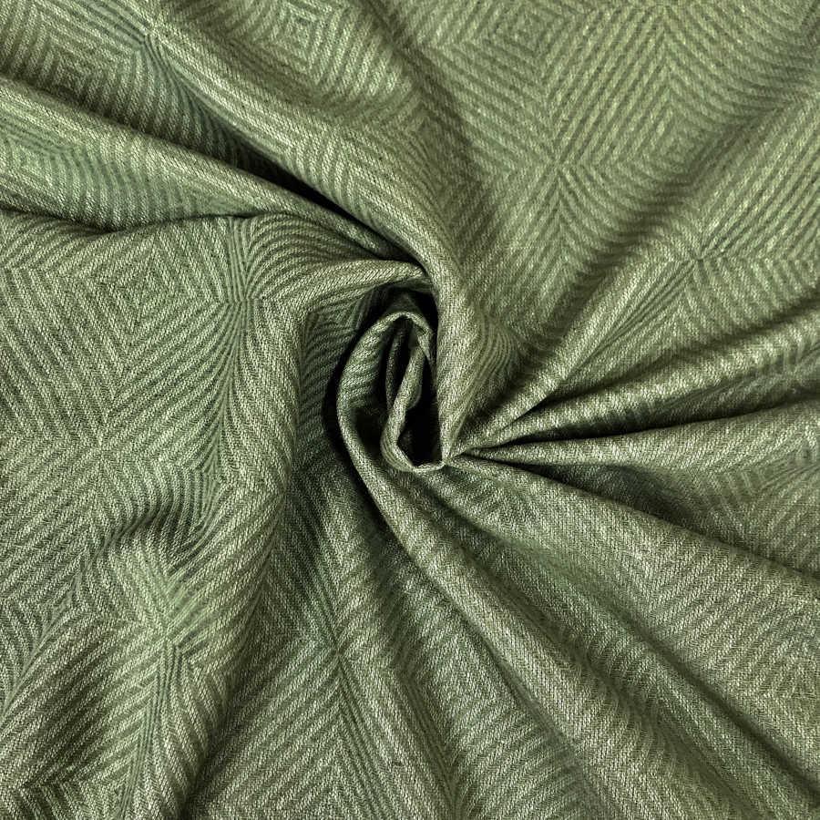100% Льняная ткань декоративная Оливковая 1