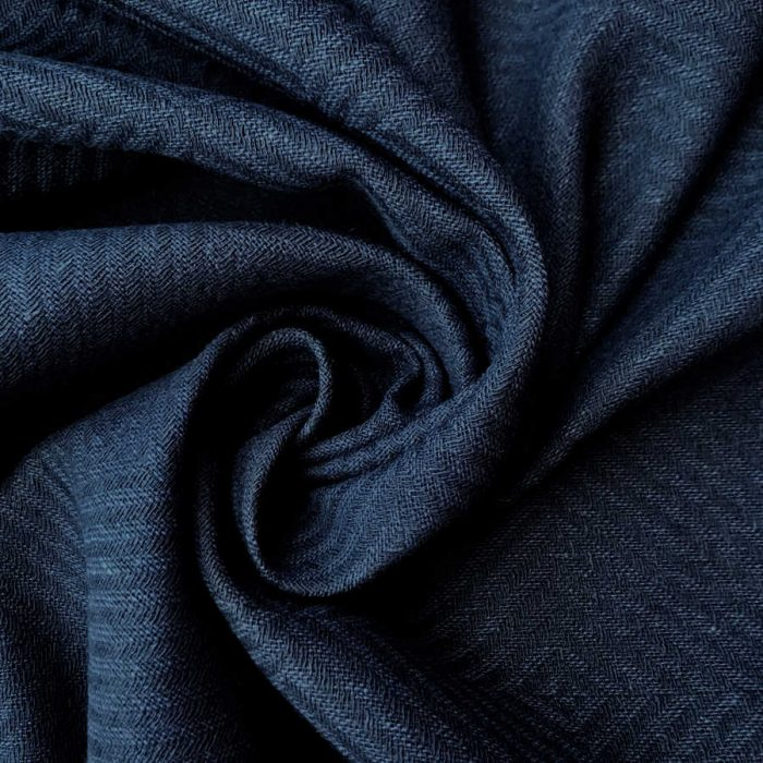 Льняные ткани - ткани для штор Темно-Синий Твид 1