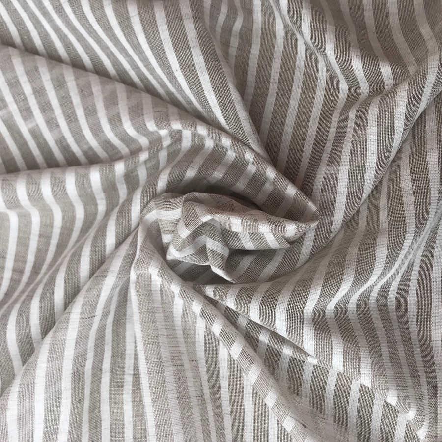 Льняные ткани - Контрастный тюль в белую полоску 1