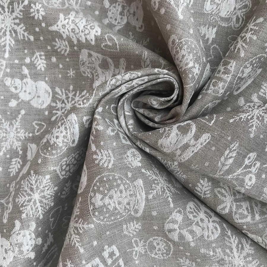 Льняные ткани - скатертная ткань Новогодняя 1
