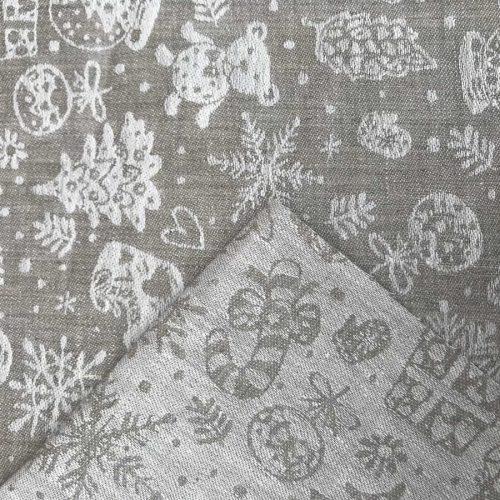 Льняная скатертная ткань Новогодняя 3