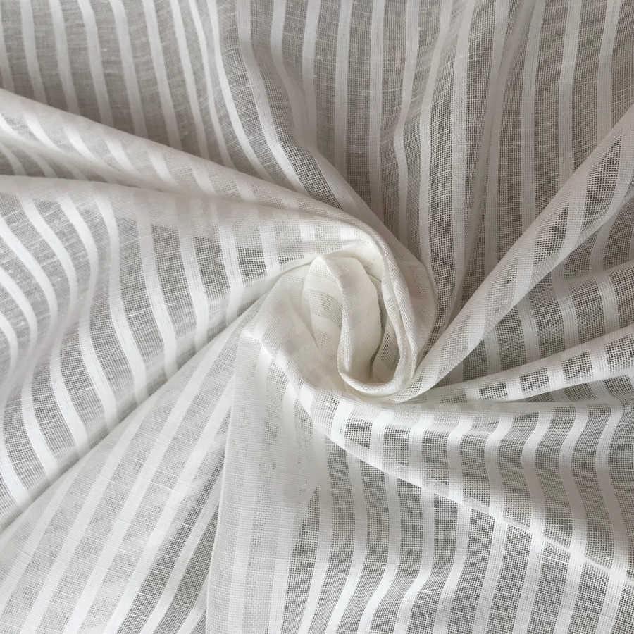 Льняной тюль белый в узкую полоску 1