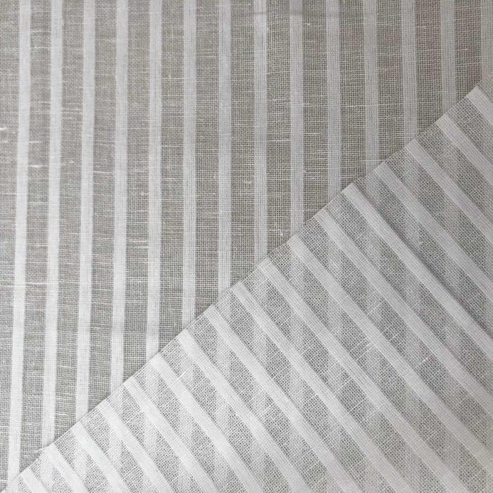 Ткань для тюля Белая в узкую полоску 2