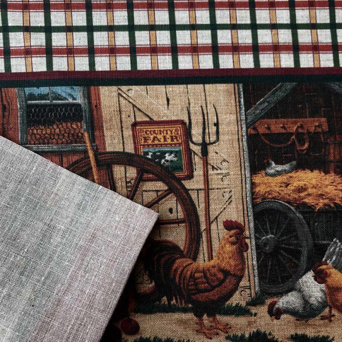 Скатертная льняная ткань Французский дворик