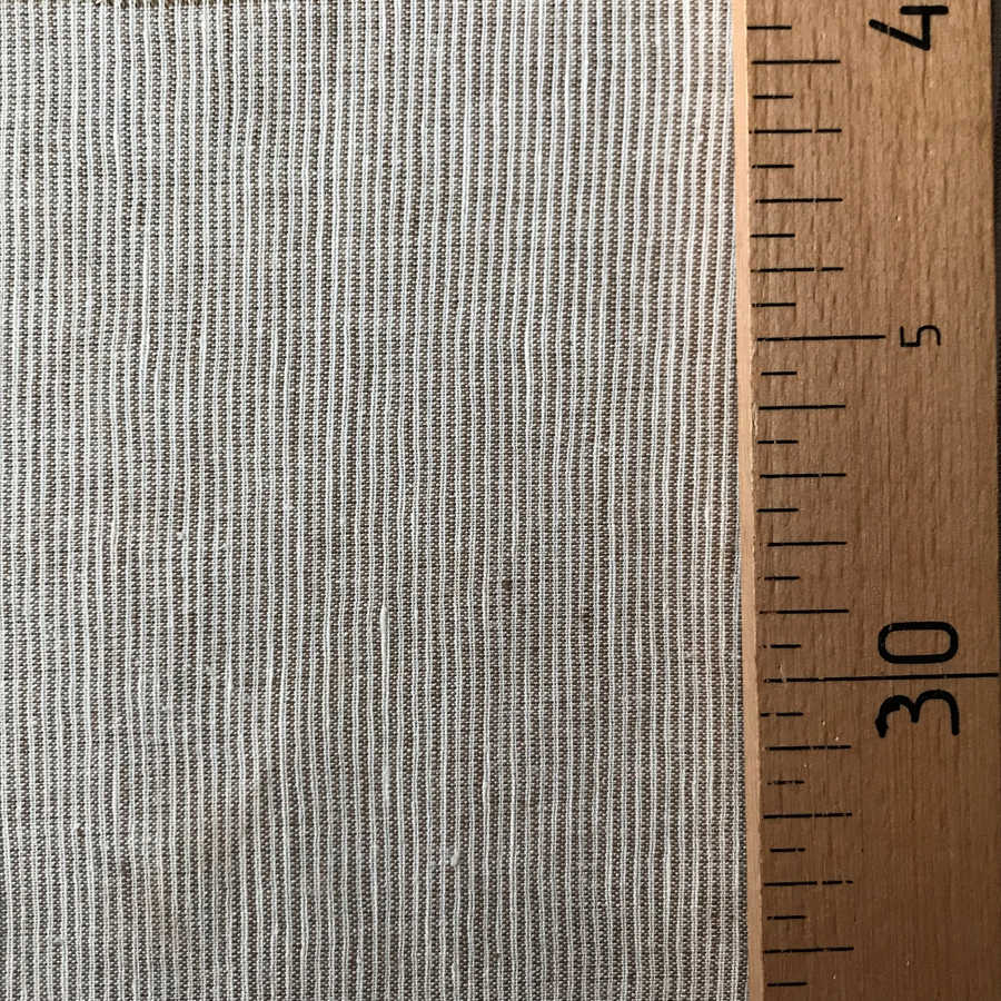 100% Льняная ткань Бежевая в тонкую полоску 3