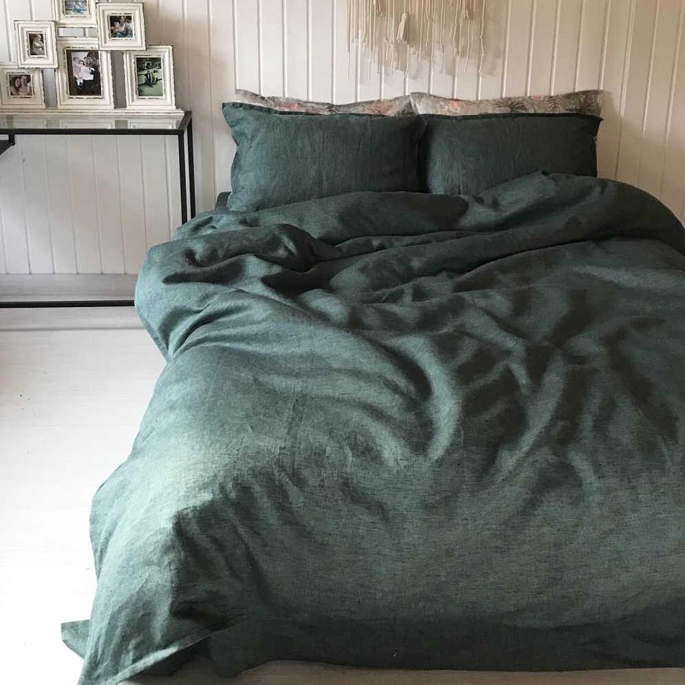 100 % льняной текстиль для спальни - цвет Темно Оливковый - Льняное.ру