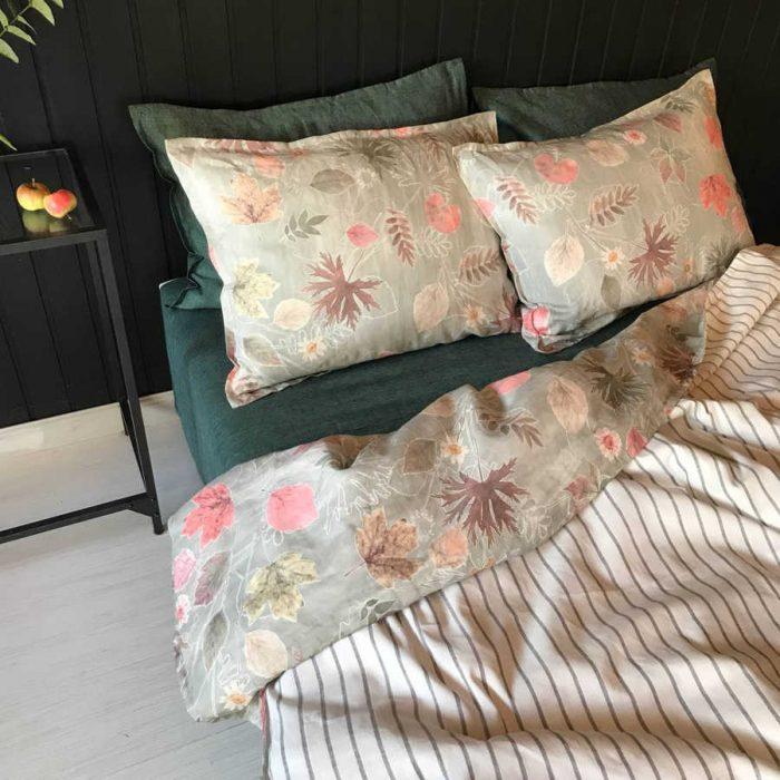 Льняное постельное белье - комплект Осень
