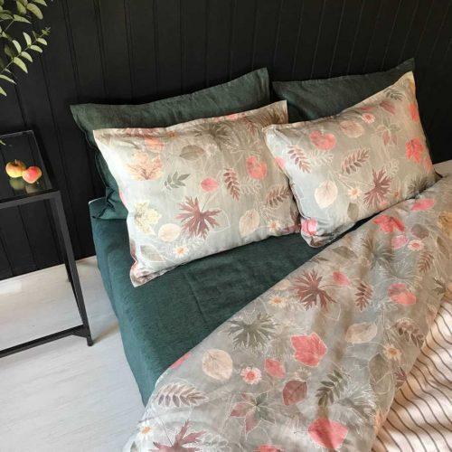 Льняное постельное белье - комплект Осень 7