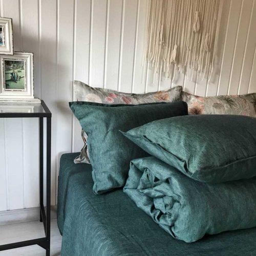 Льняной постельный комплект Темно Оливковый