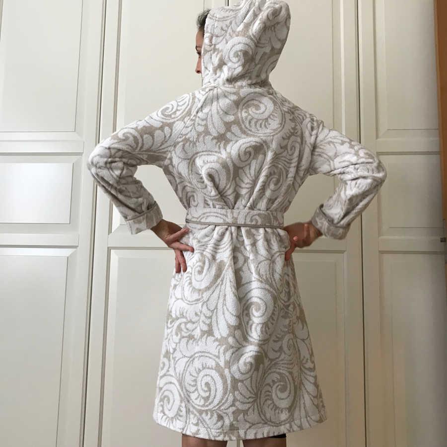 Льняной халат махровый женский