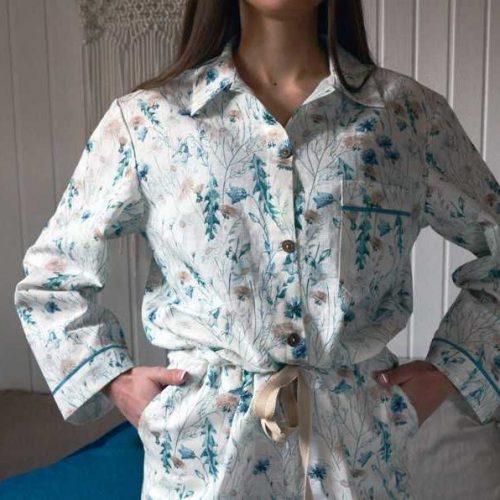 Льняная пижама Луговые Цветы 1