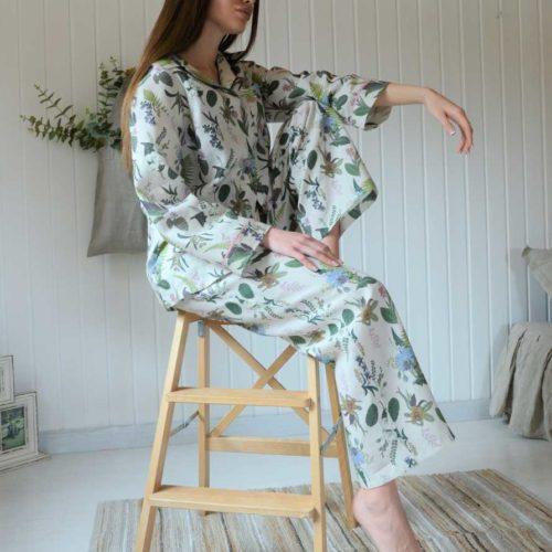 Льняная пижама Гербарий 5