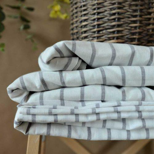 Комплект постельного белья из льна Белый в Серую полоску 3