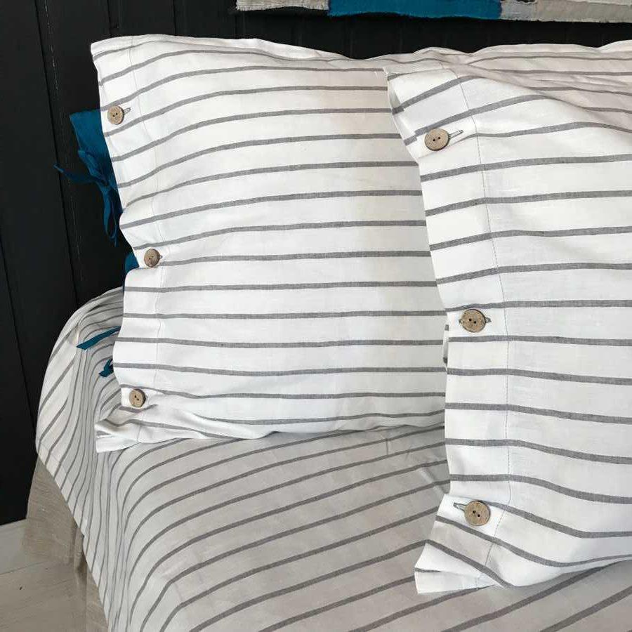 Комплект постельного белья из льна Белый в Серую полоску
