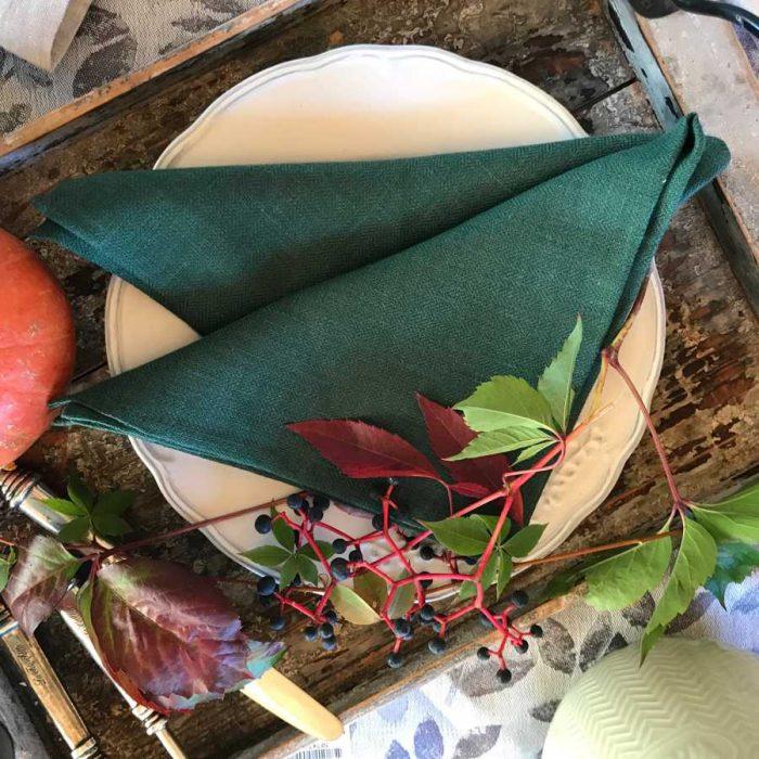 Льняные салфетки - Изумруд