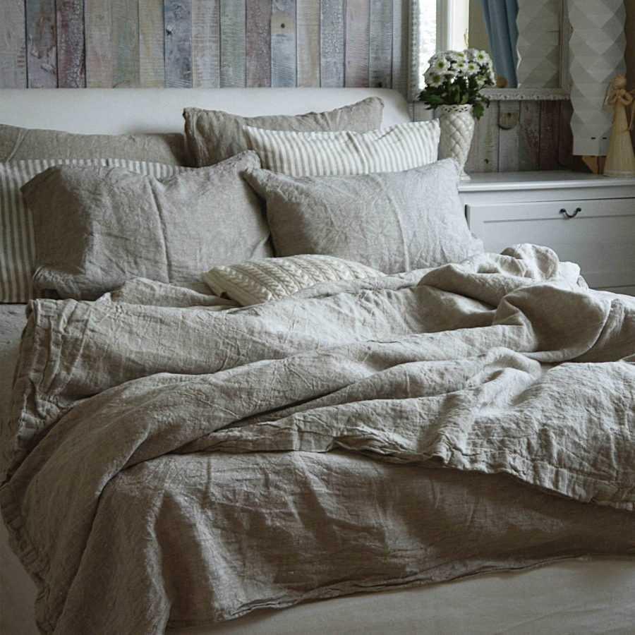 Натяжные простыни из умягченного льна - цвет натуральный Серый