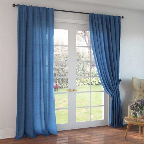 Синие шторы - лён 100%
