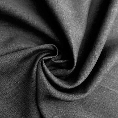 Льняные ткани из белорусского льна - Темно Серая широкая ткань Графит 1