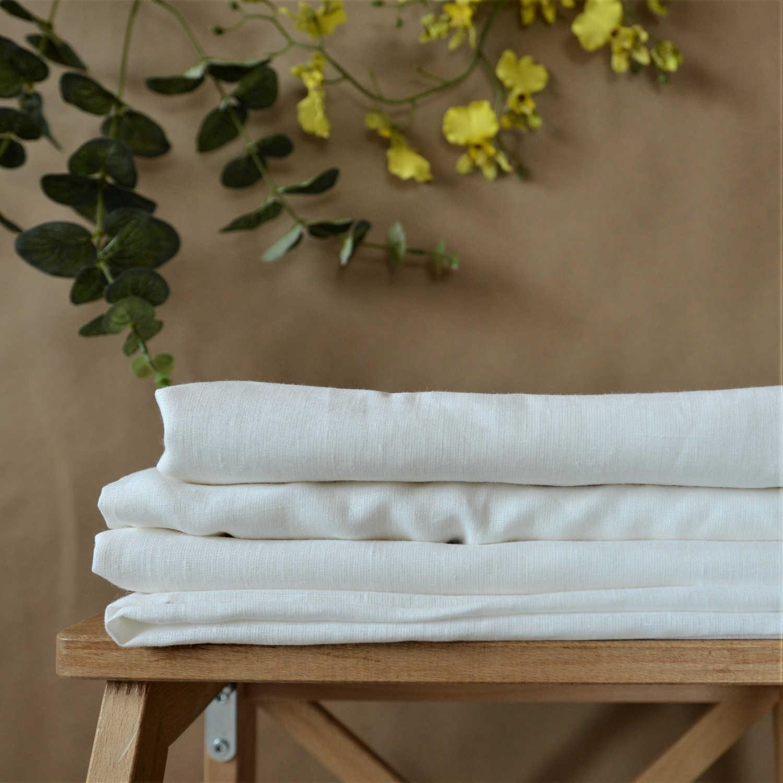 Ткани для постельного белья из льна Белые