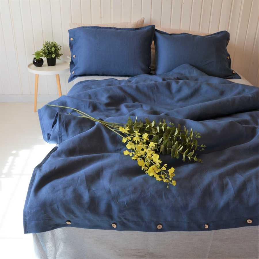 100% льняной постельный комплект Синий