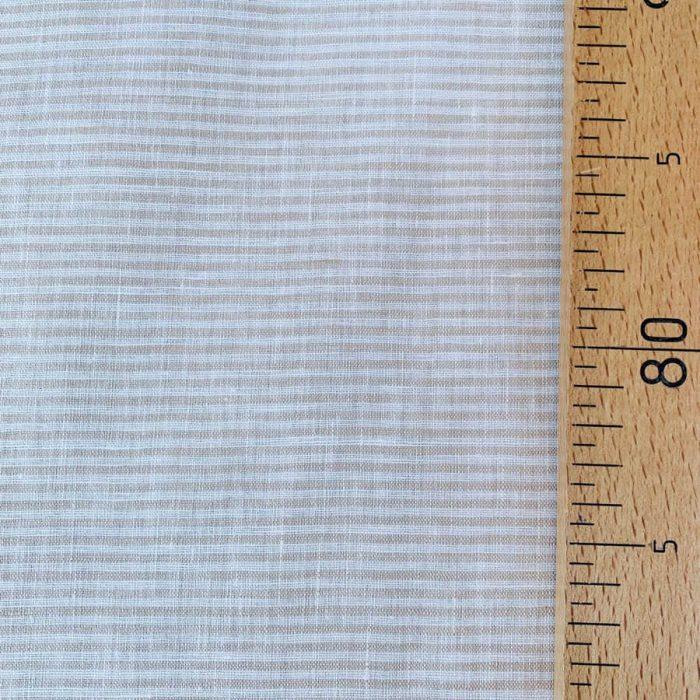 Бежевая ткань для одежды в полоску - умягченный лён 2