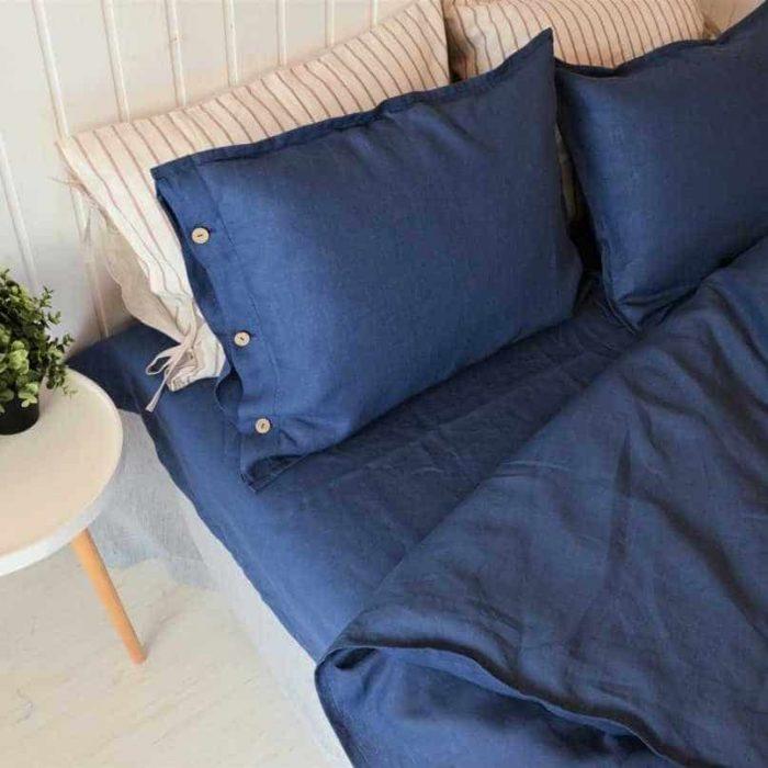 Синий комплект постельного белья из льна
