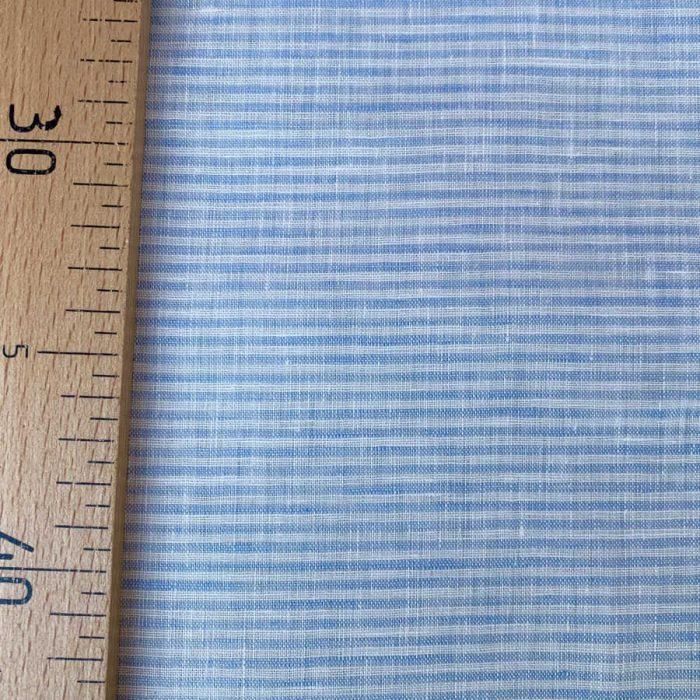 Ткань для одежды из умягченного льна Голубая 2