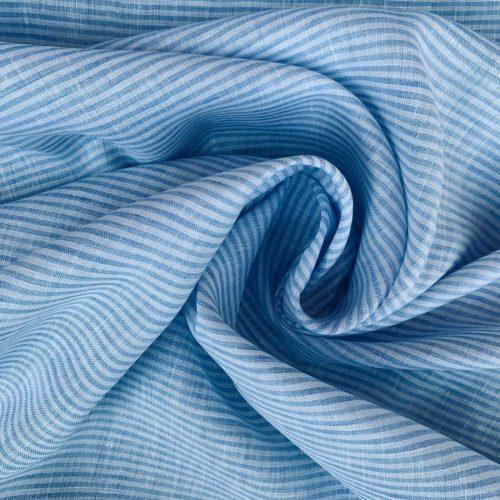 Ткань для одежды из умягченного льна Голубая 3