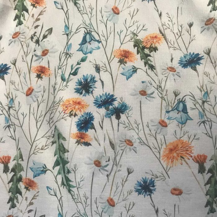 100% Льняная сорочечная ткань Луговые Цветы 2-1
