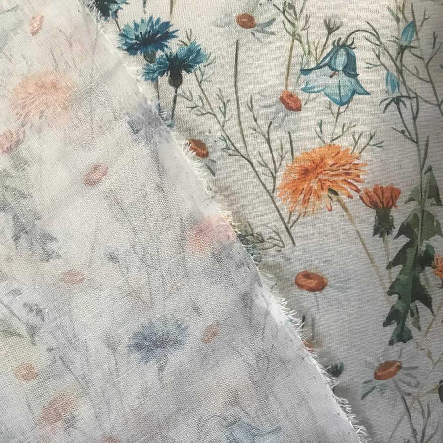 100% Льняная сорочечная ткань Луговые Цветы 2-2