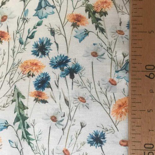 100% Льняная сорочечная ткань Луговые Цветы 2-3