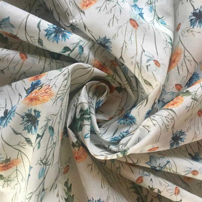 100% Льняная сорочечная ткань Луговые Цветы 2