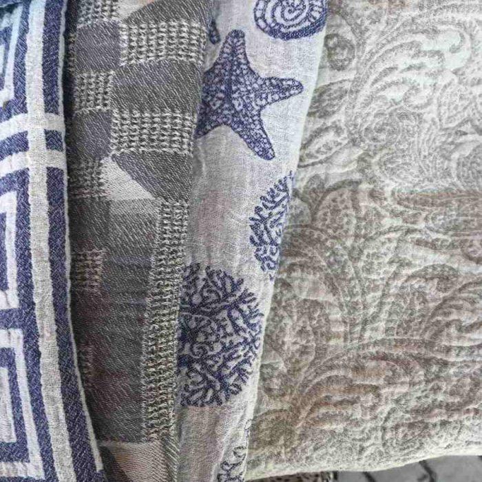 Банные полотенца из льна Ракушки