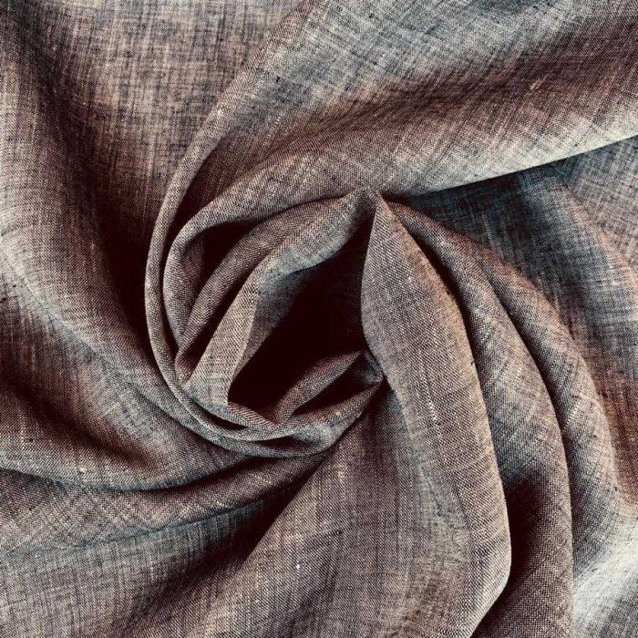 Льняная ткань для одежды Серая