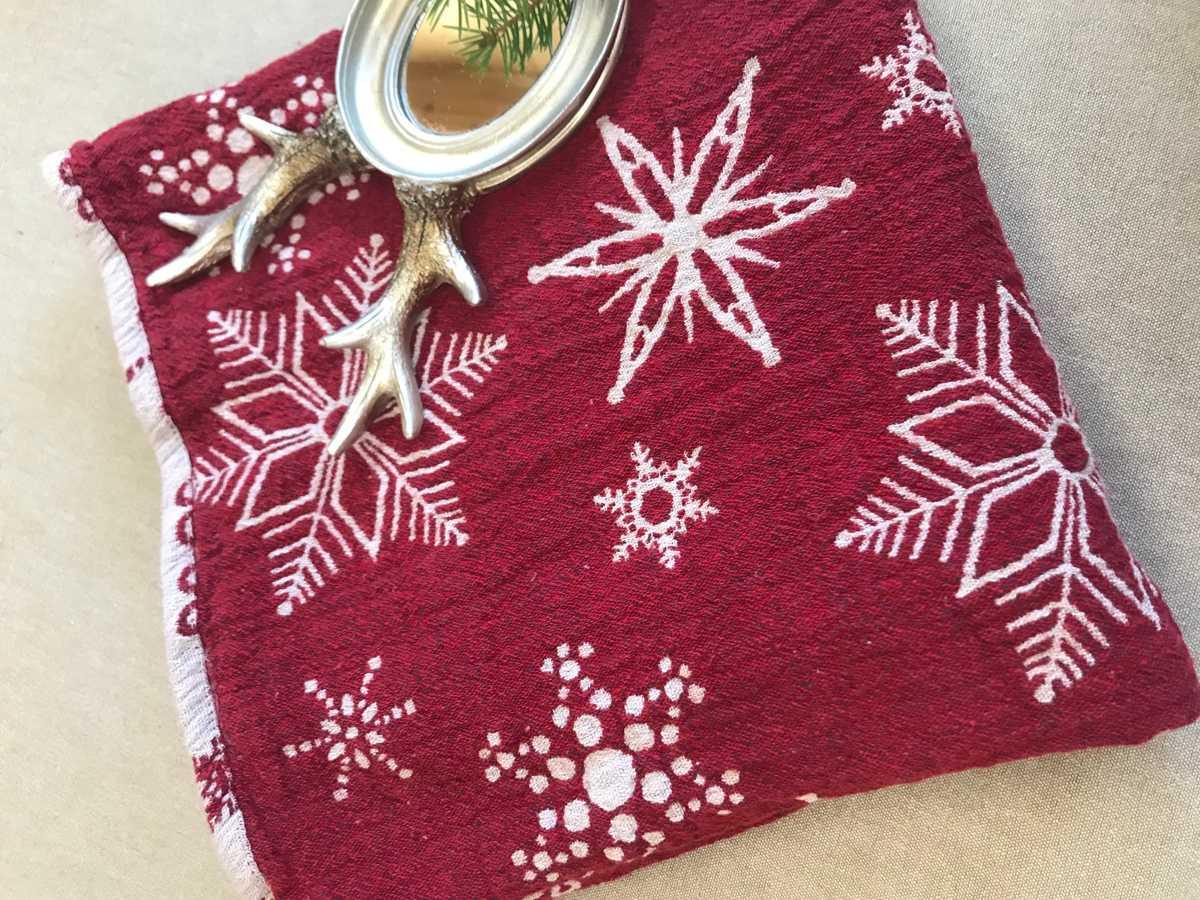 Банное полотенце из умягченного льна Новогоднее