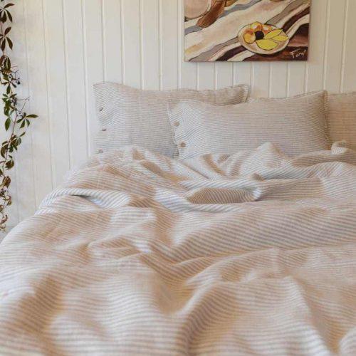 Компект постельного белья из льна - Полосатый