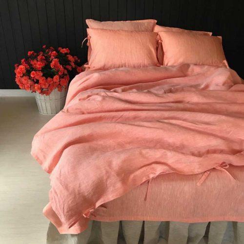 Комплект постельного белья из 100% льна Абрикос