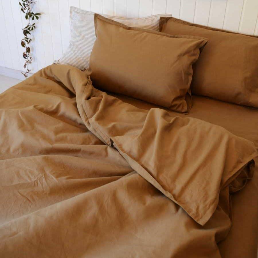 Комплект постельного белья из льна Табак