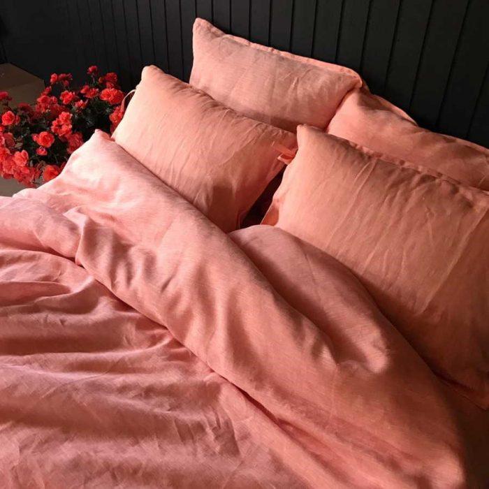 Льняное постельное белье Абрикос