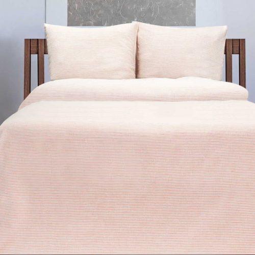 Льняное постельное белье Красное в белую полоску