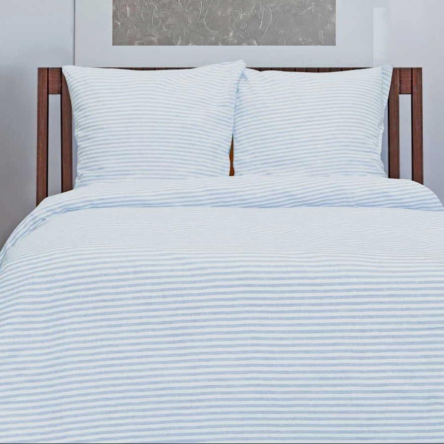 Льняное постельное бельё в Голубую полоску