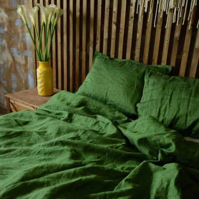 Льняной постельный комплект Молодой Мох