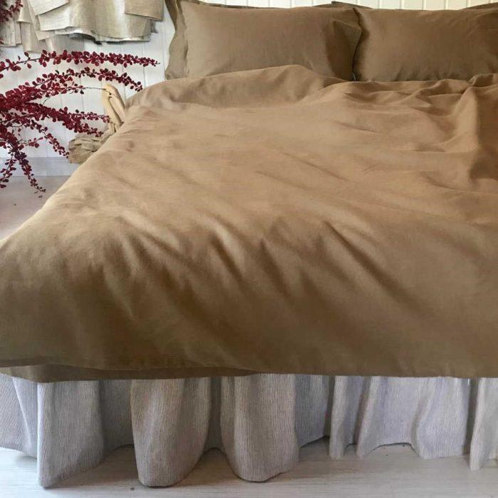 Льняной постельный комплект табак