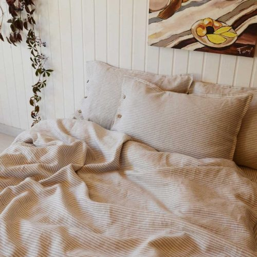 Постельное белье из льна - Полосатый комплект
