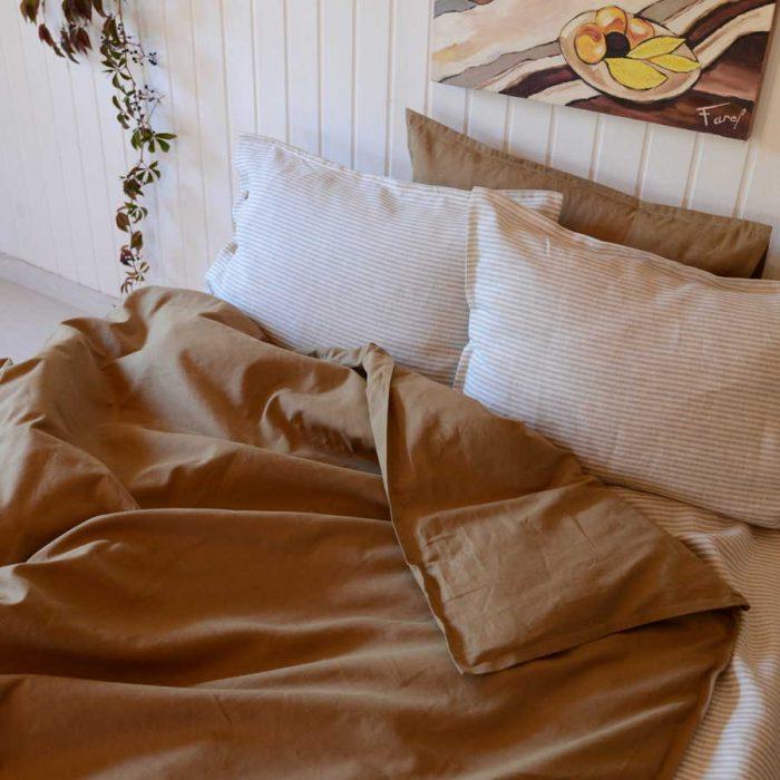 Постельный комплект из натурального льна - Полосатый