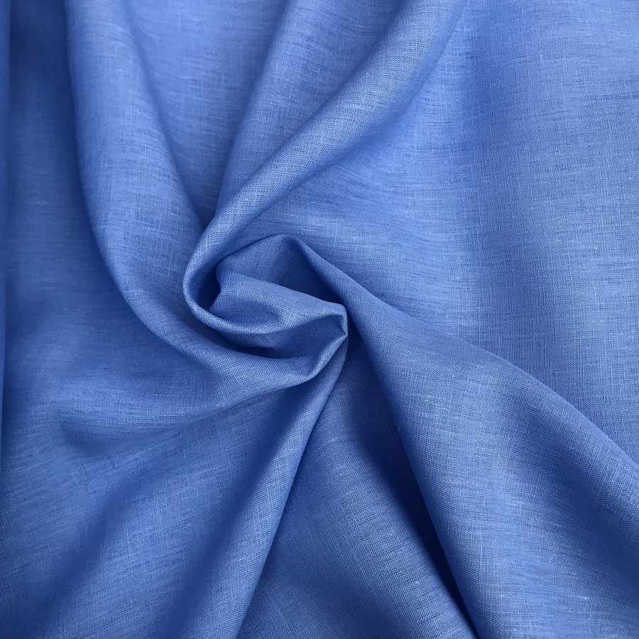 100% Льняная ткань Голубая